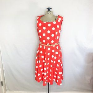 Red Polka Dot Fit Flare A-Line Dress